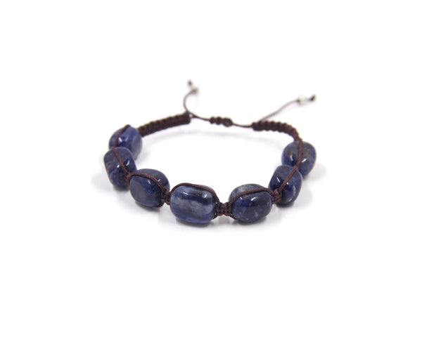 SODALITE SQUARE MEN'S HAND-KNITTED BRACELET