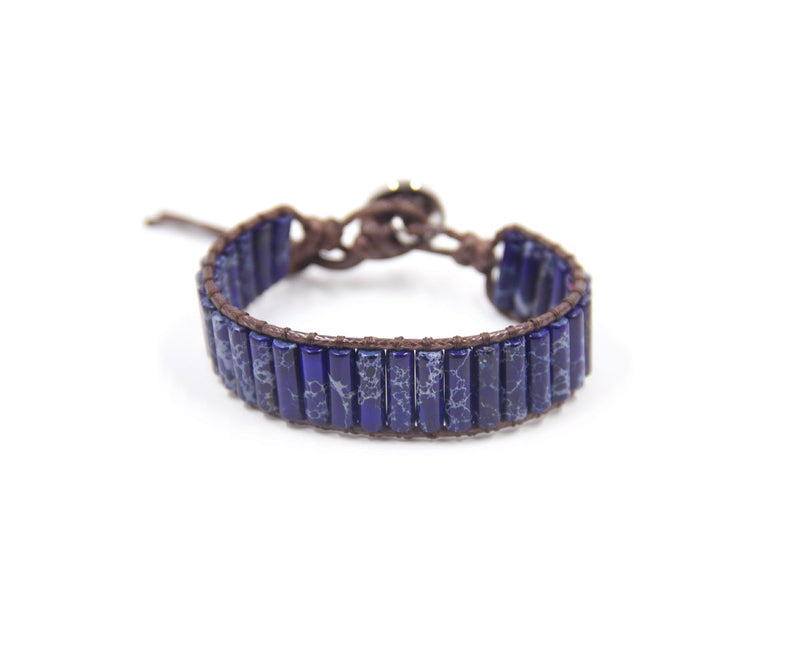 JASPER LONG IMPERIAL-BLUE HAND-STITCHED WRAP BRACELET