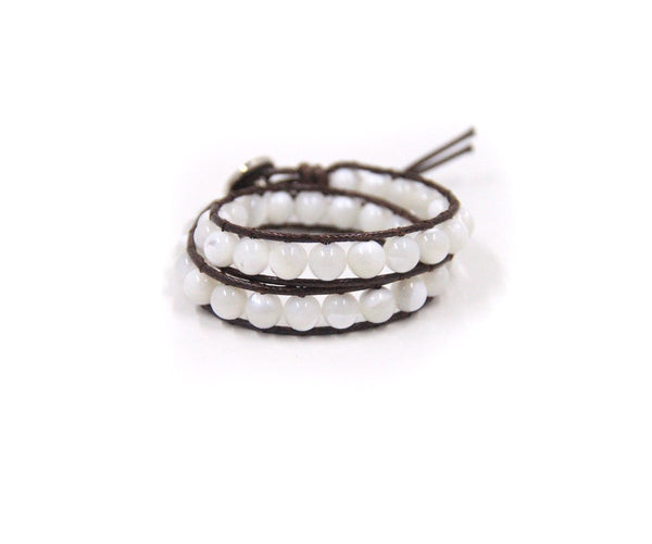 PURE MOTHER OF PEARL HAND-STITCHED WRAP BRACELET 6MM