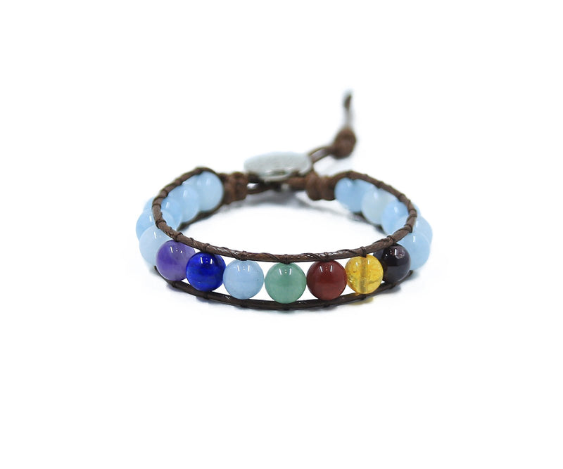 CHAKRA ALIGNER WITH AQUAMARINE HAND-STITCHED WRAP BRACELET 8MM