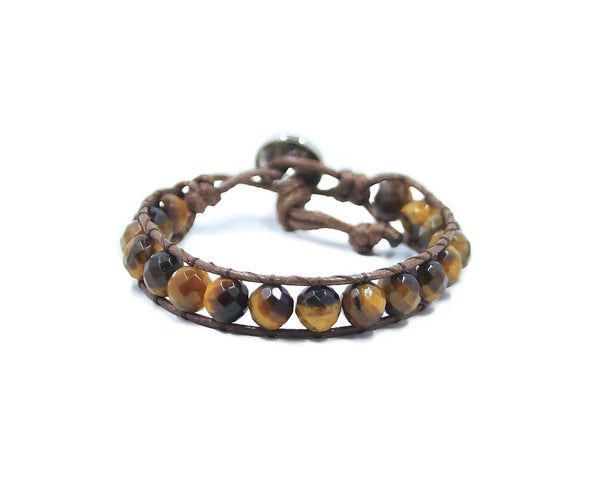 TIGER EYE HAND-STITCHED 8MM WRAP BRACELET