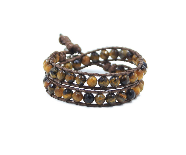 TIGER EYE HAND-STITCHED 6MM WRAP BRACELET