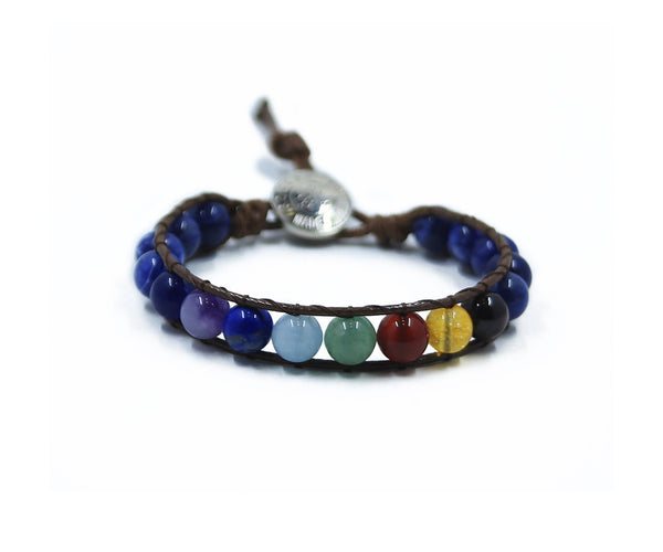 CHAKRA ALIGNER WITH SODALITE HAND-STITCHED WRAP BRACELET 8MM