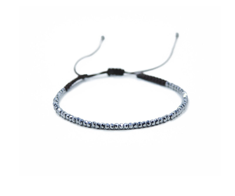 HEMATITE SMALL BEADS HAND-KNITTED ANKLET