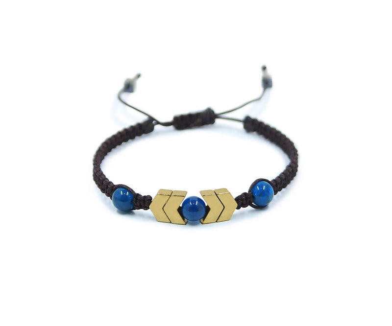 APATITE WITH HEMATITE GOLD HAND-KNITTED BRACELET