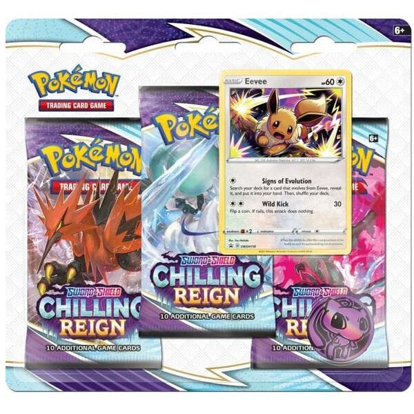 Sword & Shield 6 Chilling Reign 3-Pack Booster Display - Eevee
