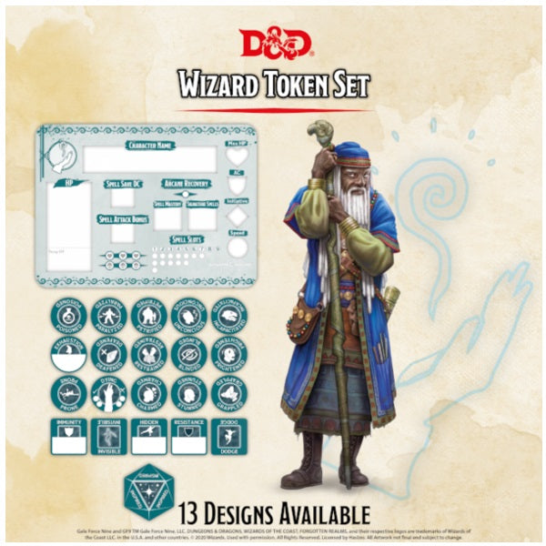 Wizard Token Set (Player Board & 22 tokens)