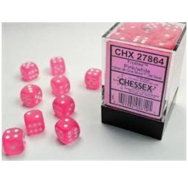 12mm D6 Dice Block: Frosted Polyheral Pink/White