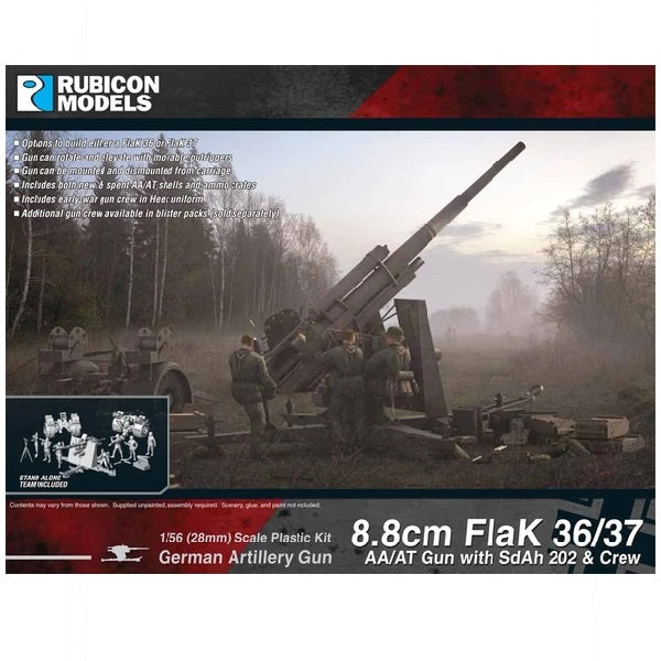 8.8cm Flak 36/37 AA/AT Gun with SdAh 202 & Crew - Grim Dice Tabletop Gaming