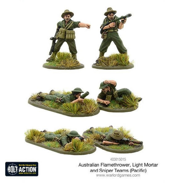 Australian Flamethrower, Light Mortar and Sniper Teams (Pacific) - Grim Dice Tabletop Gaming