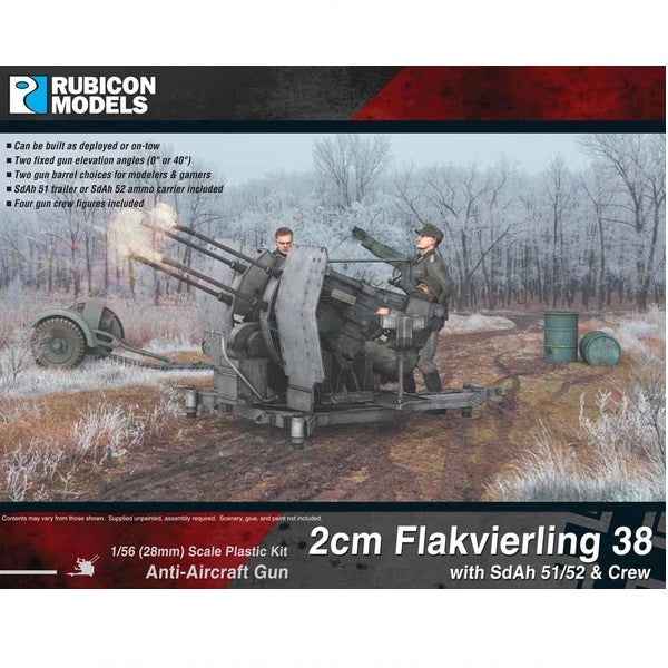 2cm Flakvierling 38 with SdAh 51/52 Trailer & Crew - Grim Dice Tabletop Gaming