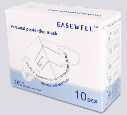 Pack of 10 - FFP2 Personal Protective Face Masks (European N95 Equivalent)