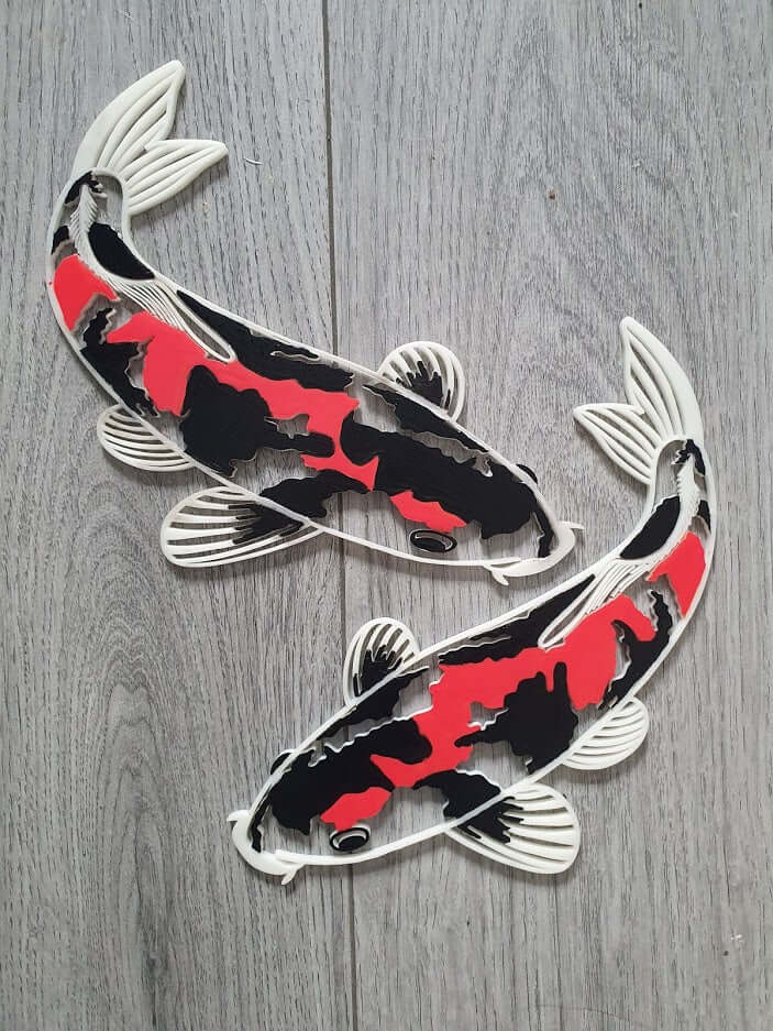 Black and red Koi fish wall decor