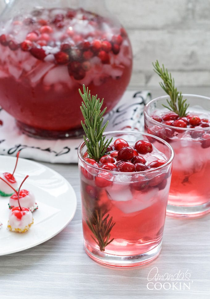 holiday cranberry rosemary punch