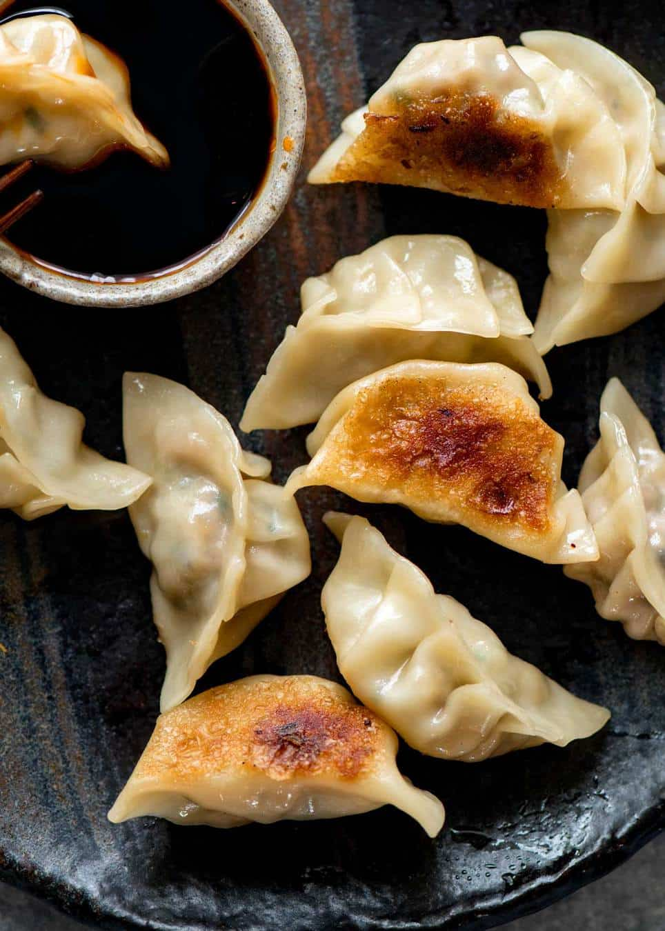 Mushroom Potstickers with Ginger Soy Dip