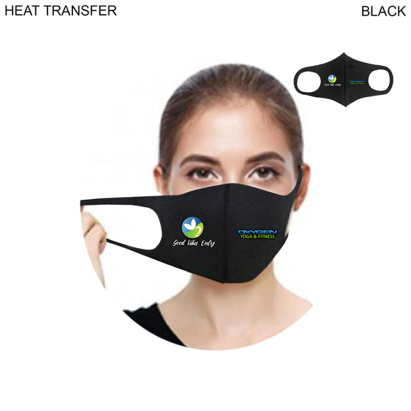 Heat Transfer Full Color spandex fitted face-mask, 2 sides logo (50 quantity)