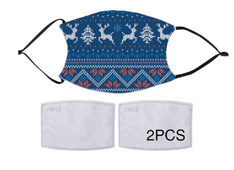 7-ply Fashion Face Mask - Christmas Cozy Blue