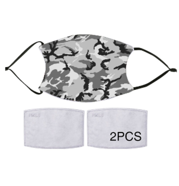 7-ply Fashion Face Mask - Grey Camo