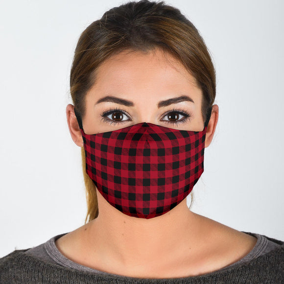 Premium Designer Face Mask - Red Plaid