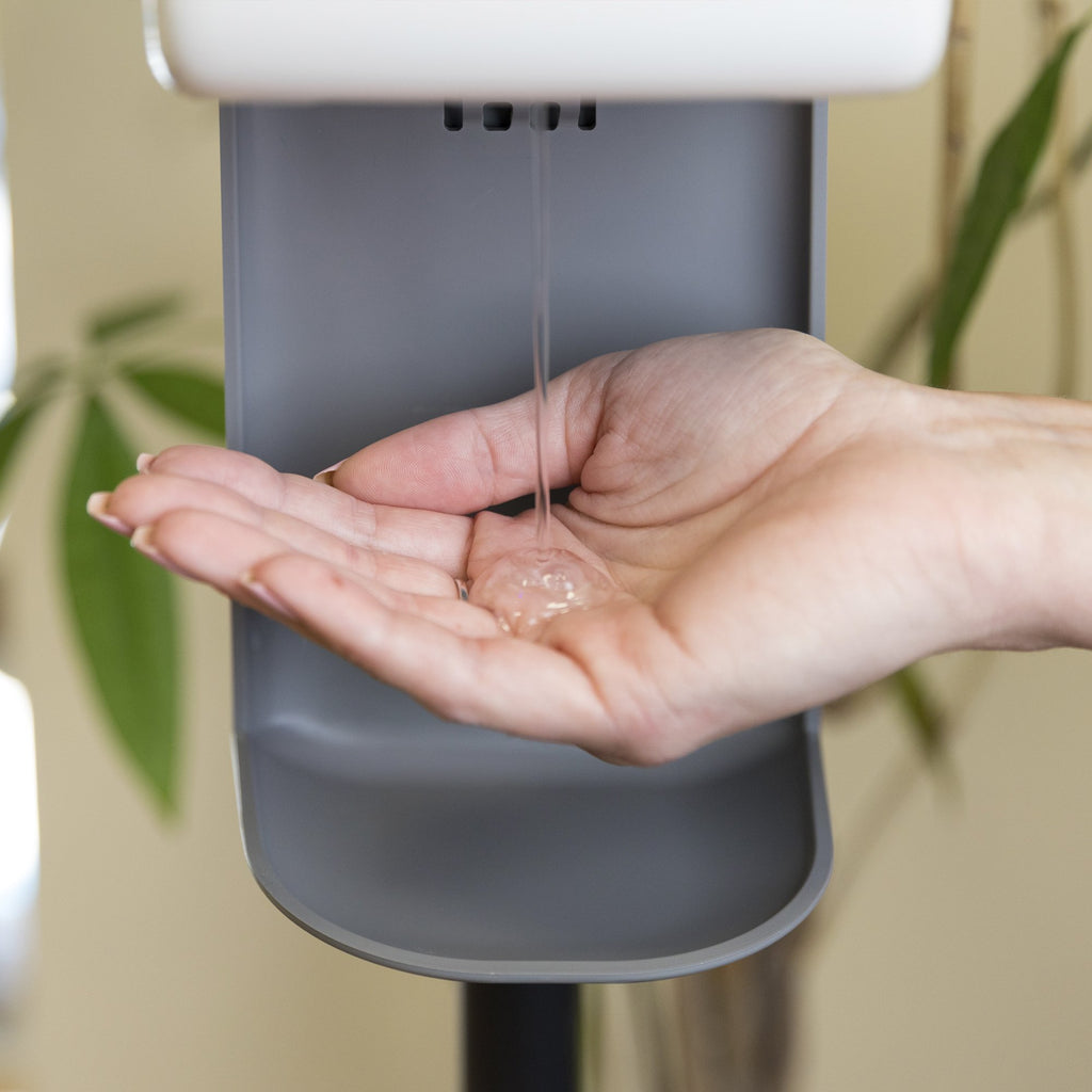 The Sentinel Stand - Automatic Anti-bacterial Gel Dispenser - In action close up
