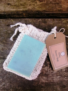 Soap Saver Sack -  Hand knitted Cotton Soap Bag