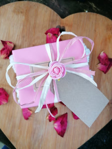 Rose Soap, Wash cloth and rack gift set