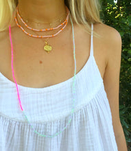 Load image into Gallery viewer, Pale Pink & Orange Necklace/Wrap Bracelet