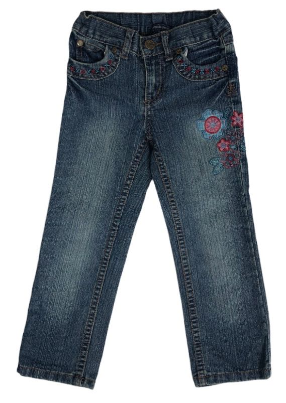 Pumpkin Patch Jeans w/ Flower Embroidery - Size 4
