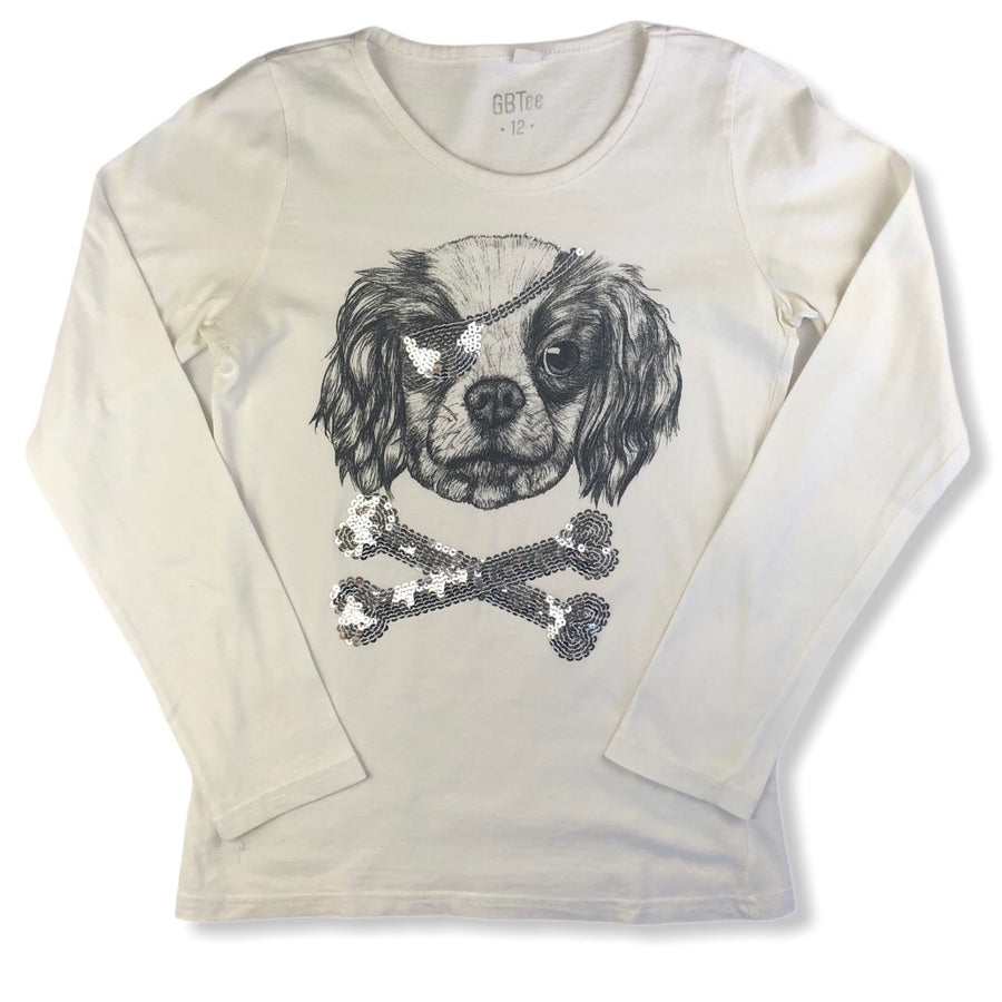 GB dog with sequin eye patch tee - Size 12