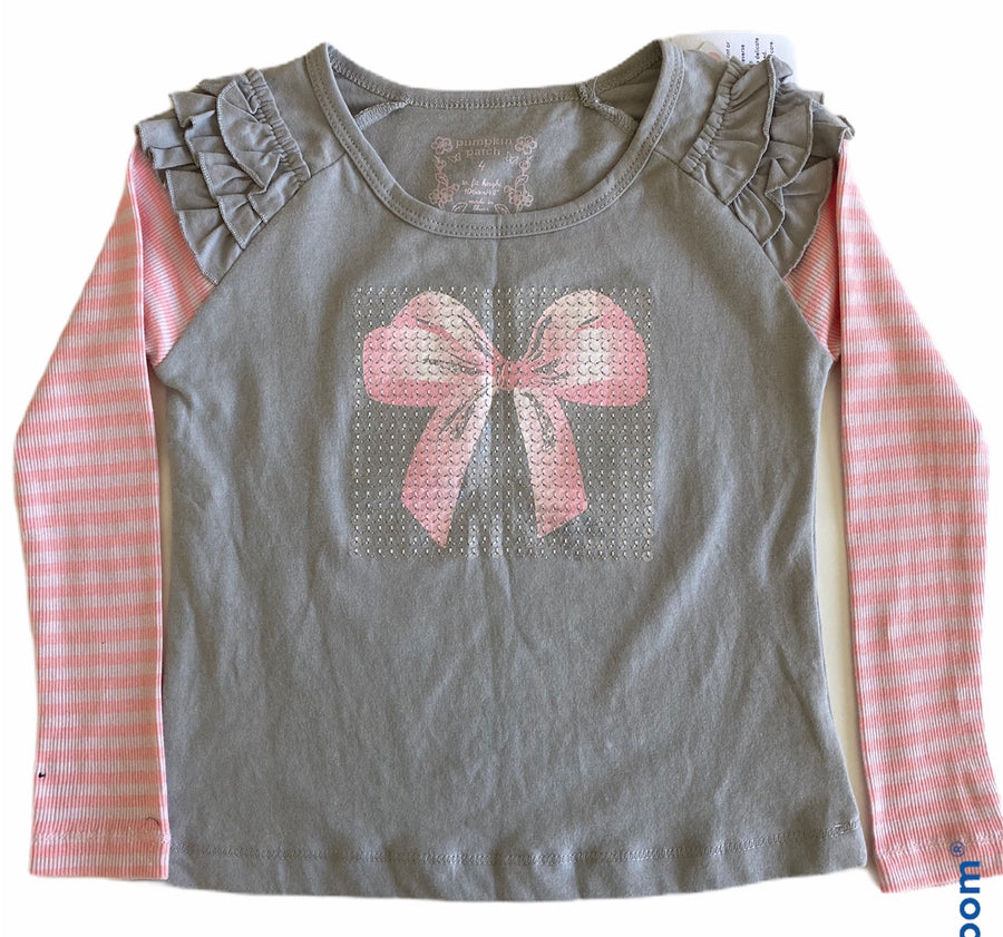 Glitter Bow Long Sleeve Tee - Size 4