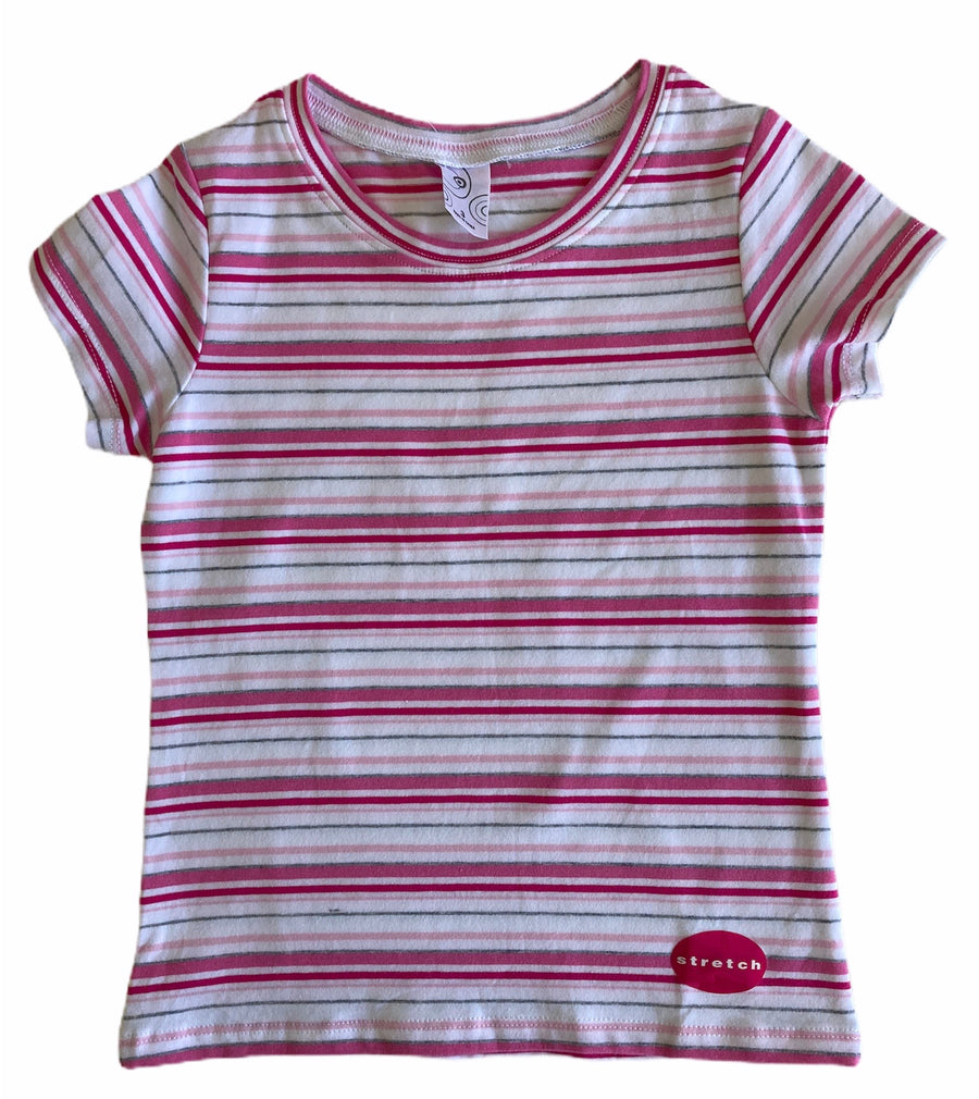 Pink & White Striped Short Sleeve T-Shirt - Size 3