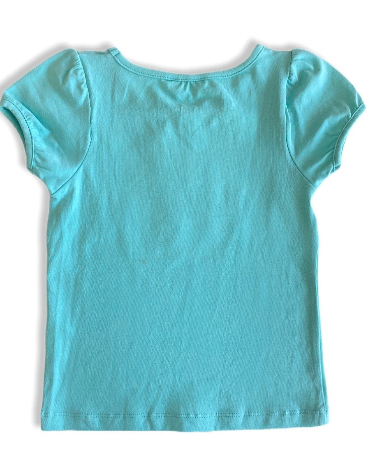 Milkshake Aqua Short Sleeve T-Shirt w/ Love Heart - Size 4