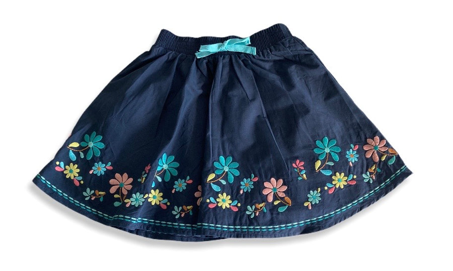 Target Navy Flower Embroided Skirt - Size 6