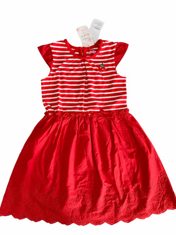Funky Babe Strawberry Striped Red Dress - Size 6