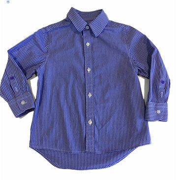 Industrie Long Collared Purple Checked Shirt - Size 3