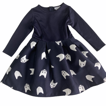 Ollie's Place Cat Print Navy Dress - Size 4