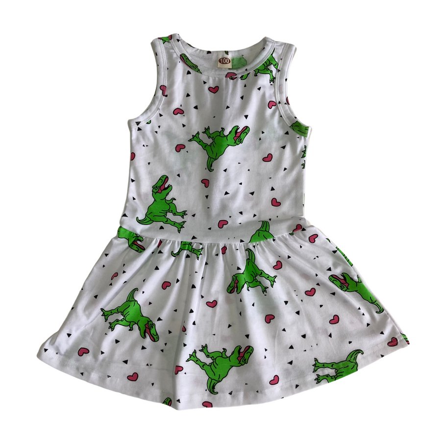 Print Dinosaur Dress w/ Scales - Size 2