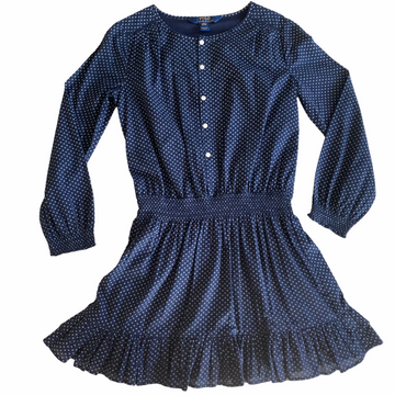 Long Sleeve Navy and White Polka Dot Ralph Lauren Dress