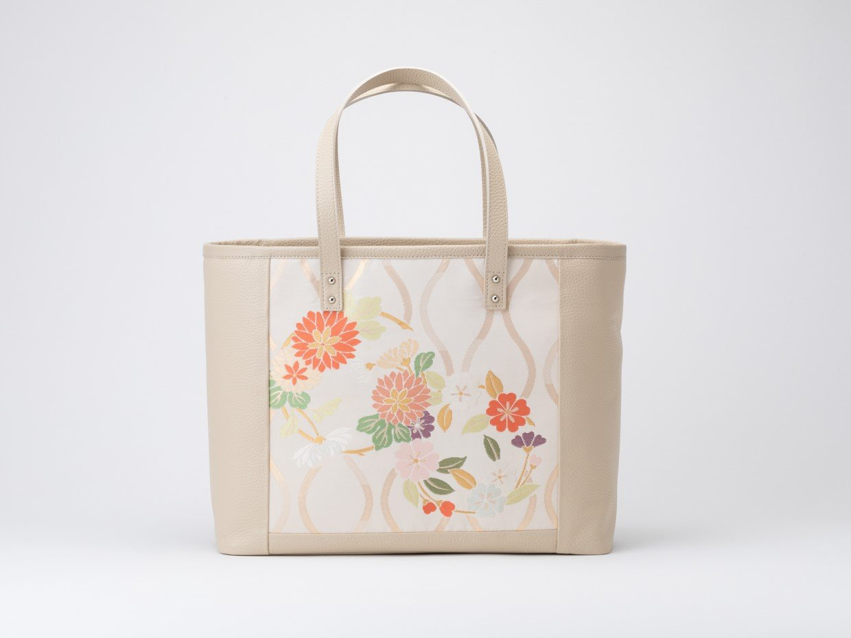 Leather Tote bag with Japanese Traditional Kimono fabric