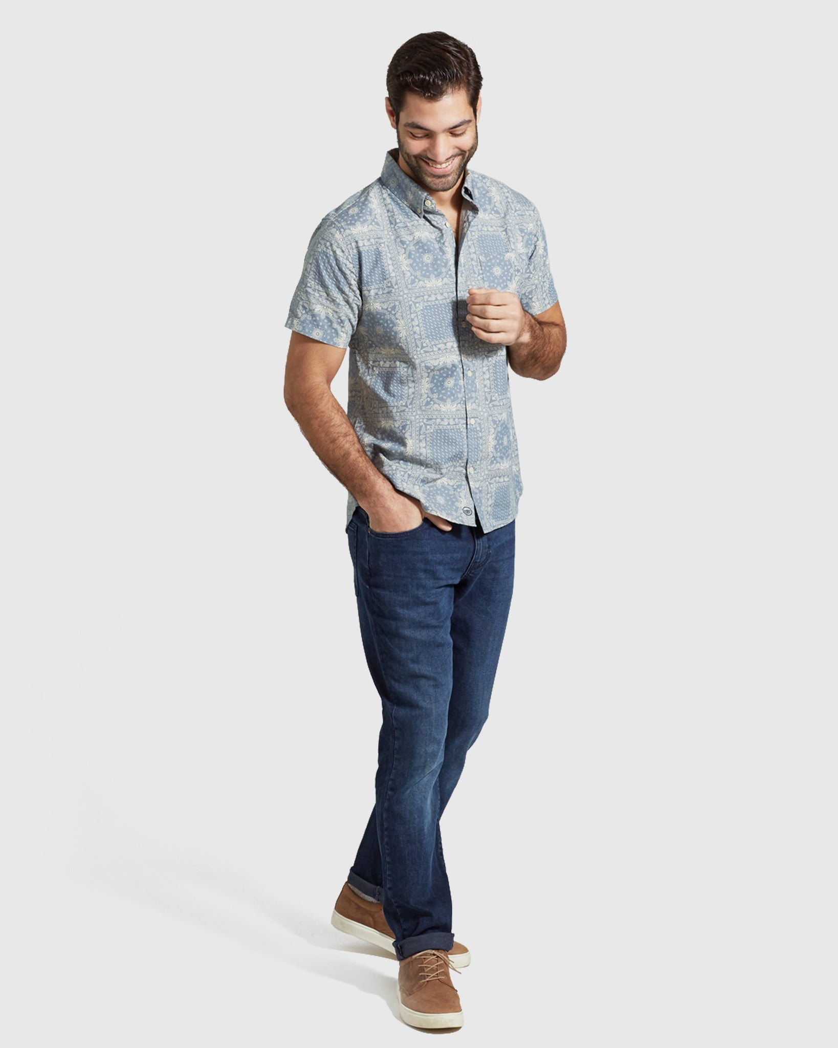 Natural Short Sleeve Button Down