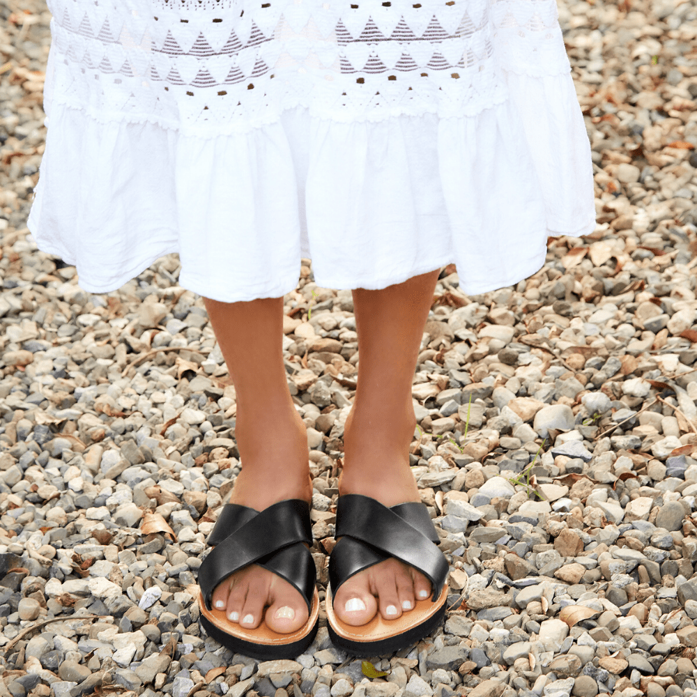 The Constanza Leather Slide Sandal