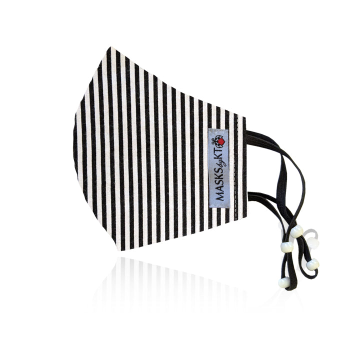 Gula Black & White Stripes Cotton Face Masks