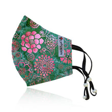 Load image into Gallery viewer, Pink Medallions on Teal Green Cotton Face Masks