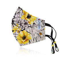 Load image into Gallery viewer, Yellow & Grey Vintage Floral Cotton Face Masks