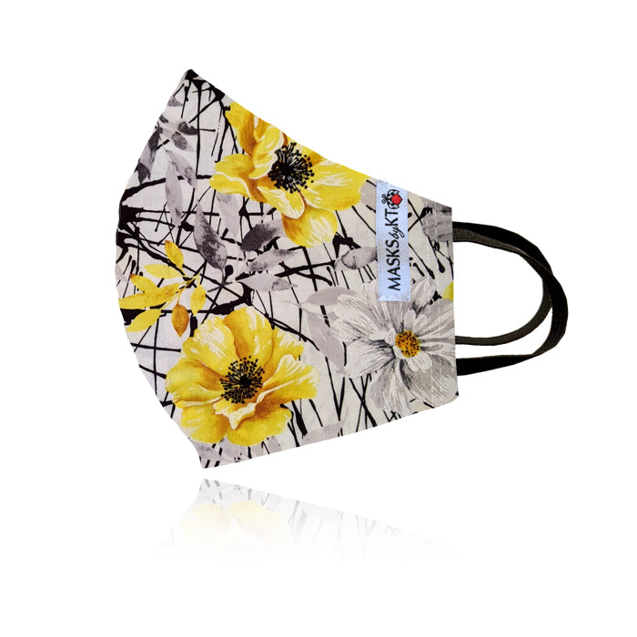 Yellow & Grey Vintage Floral Cotton Face Masks