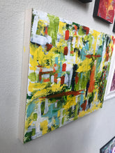 Load image into Gallery viewer, Original, abstract, acrylic painting, cheerful colors on wooden canvas panel