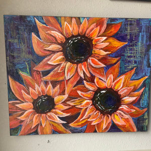 Original Orange flower painting, hand painted with mixed medium, on canvas panel board