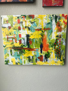 Original, abstract, acrylic painting, cheerful colors on wooden canvas panel
