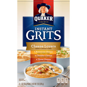 Quaker Instant Grits Cheese Lovers Variety Pack 12 Packets (4 American Cheese, 4 Cheddar Cheese, 4 Three Cheese)