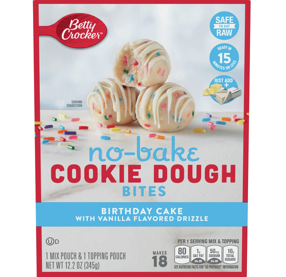 Betty Crocker Birthday Cake No Bake Cookie Dough Bites (12.2oz)